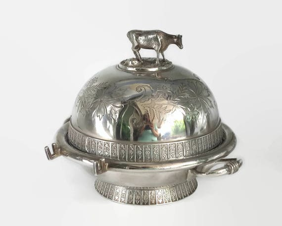 Antique butter dish with cow on top, large, silver plated, 4 pieces, engraved domed top, late Victorian, Meriden B Company, United States