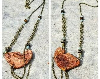 Reversible Natural Clay Statement Necklace - Copper Chrome
