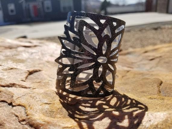Sparkle Vinyl Cuff Bracelet - Mandala Flower