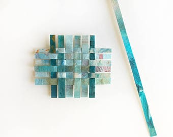 One Turquoise Mini Paper Weaving- 2.5x3- Hand Painted, Collaged
