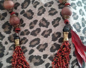 beautiful stone necklace and coral.