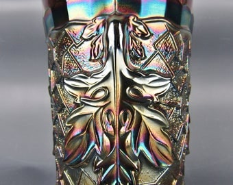 Carnival Glass - Dugan / Diamond MAPLE LEAF Amethyst Tumbler
