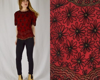 M/L Vintage Silk and Beaded Red Crop Top