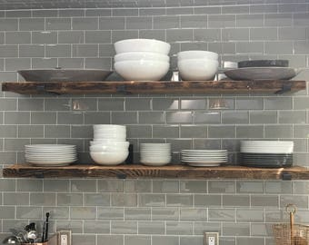 "9.5"" DEEP BY....Reclaimed Wood Shelves With 2 Handmade Steel Shelf Brackets, Made to Order"