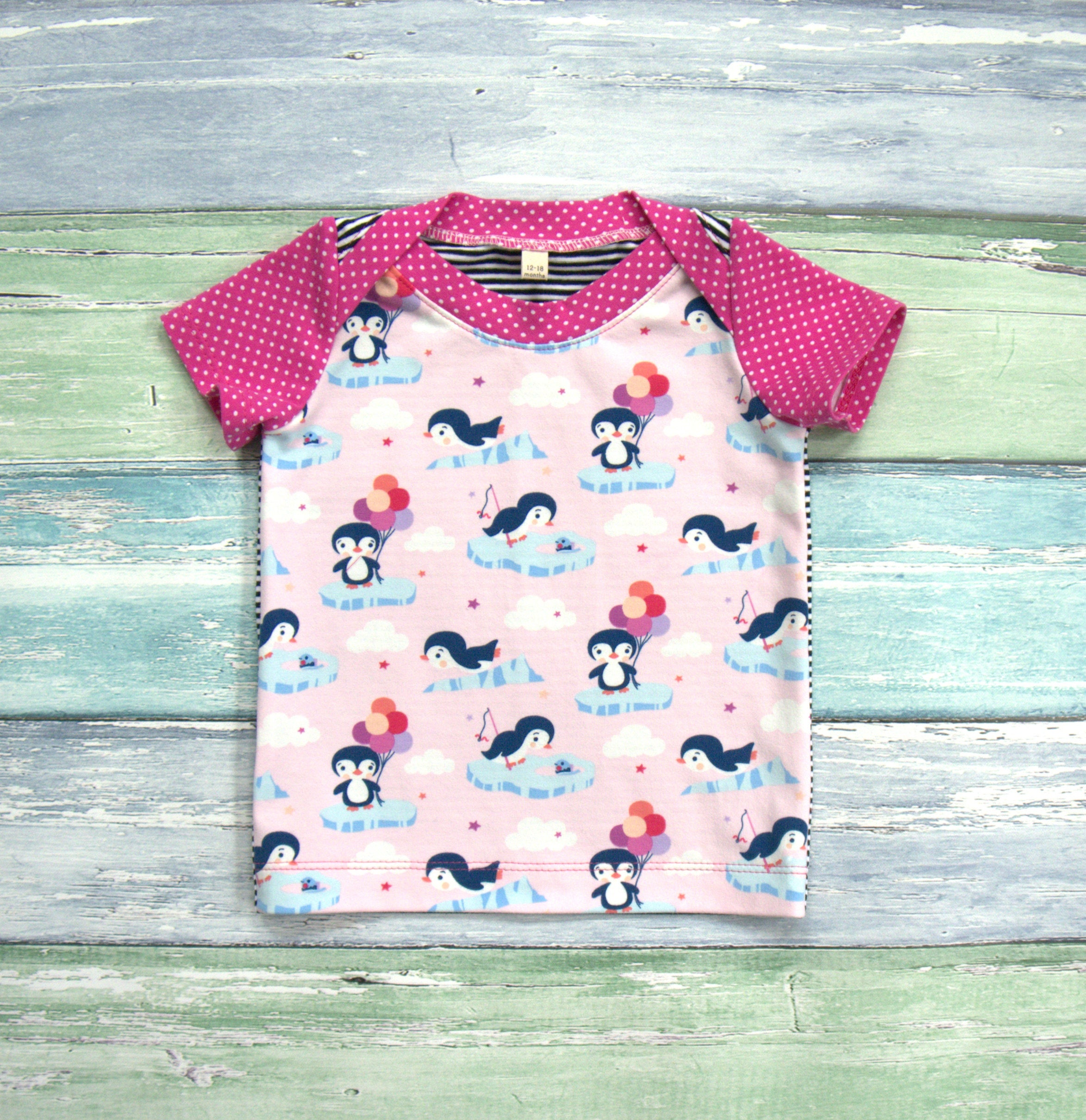 Penguin Shirt Birthday Theme Baby Girl First Top Cotton Jersey