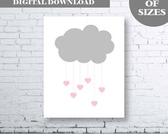 Cloud Rain Nursery Wall Art Print - Instant Download - Rain Nursery Wall Art. Cloud Nursery Wall Art. Heart Nursery. Pink and Grey Nursery.