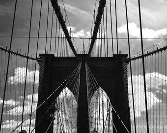 Brooklyn Bridge print, New York City, Black and white, Monochrome, Large Wall Art, Large Print, B&W print, 12x16, 12x18, 16x20, 20x24, 20x30