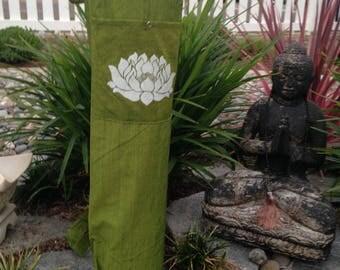 Unisex Yoga Mat Bag With Pocket & Straps.Draw String Closure.Hand Printed LOTUS FLOWER On Yoga Mat Bag.Yoga Mat Holder.Pilates Mat Bag.GREEN