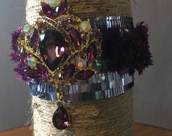 Twine Wrapped Absolute Vodka Bottle with Purple Brooch
