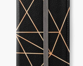 Folio Wallet Case for iPhone 8 Plus, iPhone 8, iPhone 7, iPhone 6 Plus, iPhone SE, iPhone 6, iPhone 5s - Rose gold Geometric Design case