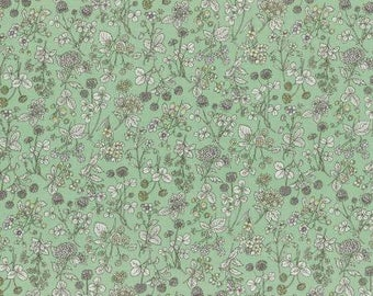 Lecien Memoire A Paris LAWN - Fat Quarter in Pale Green