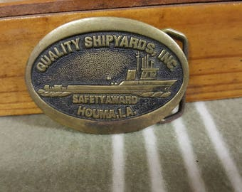 1978 Belt Buckle Quality Shipyards, Inc. Safety Award. Houma LA