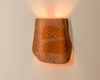 Terracotta clay lamp, Very unique sculptured ceramic wall light fixture