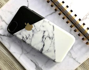 Marble Pattern Phone Case with Apple Logo | iPhone 7 8 X | iPhone 7 8 Plus Case | Personalized | Gift