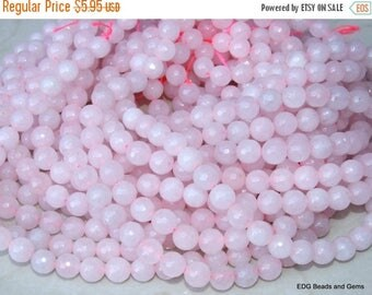 Pink Jade - Light Pink Faceted Jade Beads.  8mm Faceted Bead - 15 inch Strand