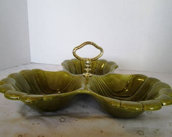 3 Part Clam Shell Tidbit Tray; Cal USA 41, Sage Green Vintage Three Part Divided Serving Tray, 3 Compartment Relish Tray, California Pottery
