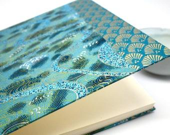 """Album photo ou livre d'or en papier japonais """"bleu art déco"""" - album mariage, naissance, wedding guest book, japan wedding, book"""