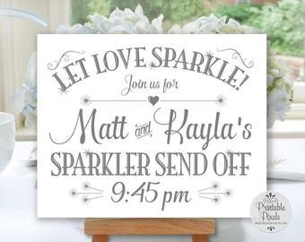 Sparkler Send-Off Printable Wedding Sign, Grey Lettering, Personalized with Names and Time (#SPK2A)