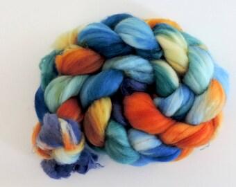 Merino Nylon,Beach Party, handgefärbte Fasern zum Spinnen,100g Kammzug, Sock Blend