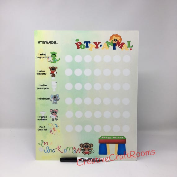 Reusable Daily Potty Training Dry Erase Board, Reusable Potty training white board, Potty training chart, reusable white board reward sign