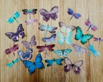Edible Butterflies/Dragonflies Blue-Teal Purple Edible Cake-Cupcake Toppers,Set 24