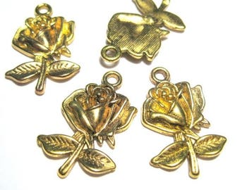 50% OFF Clearance Sale-- Antique Gold Rose Charms Pendants 26mm