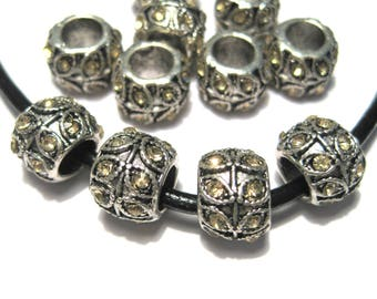 5pcs Antique Silver Large Hole European Rondelle Spacer Beads With Champagne Rhinestones