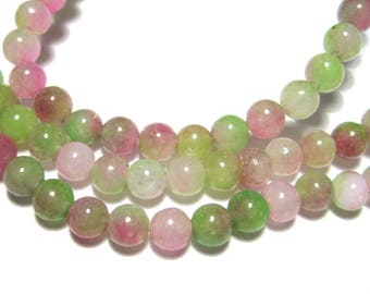 1 Strand Pink Green Natural White Jade Dyed Stone Beads 4mm Round