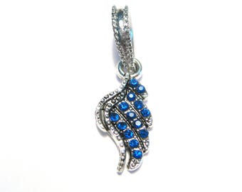 Antique Silver Blue Rhinestone Wing Dangle Pendant Bail charms Pendant