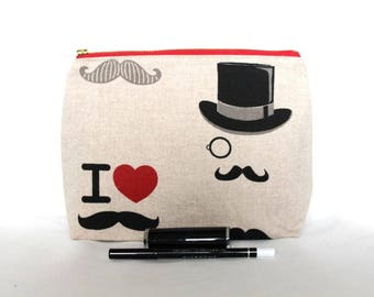 Moustache Mustache Zipper Pouch, Cosmetic Bag, Makeup Bag