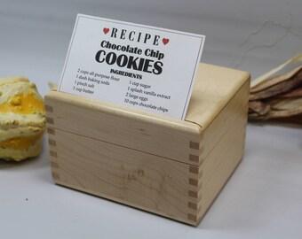 Maple Recipe Box,Wood Recipe Box, Recipe Box, Index Card Box 3 x 5, Maple Recipe Box, Recipe Card Box  3 x 5, Wooden Recipe Box (rc51111R)