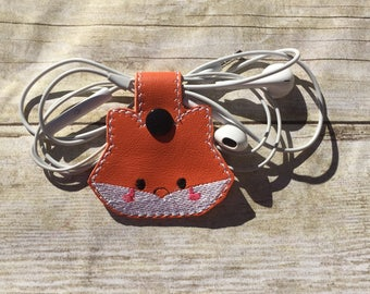 Headphone/Cord holder,Fox Headphone Holder,Headphone organizer,Cord Keeper,Fox Ear Bud Wrap,Headphone Organizer,Ear Bud Holder