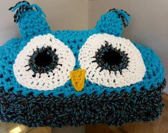 Hooded owl blanket, OOAK, teen, adult, kids, RTS,