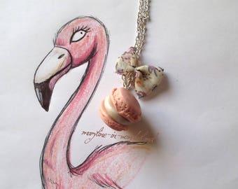 Necklace macaron gourmand pink powder