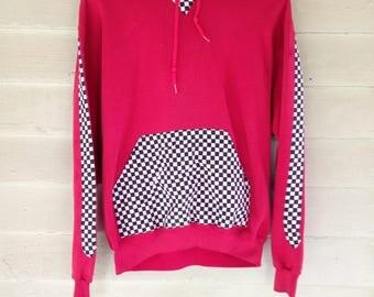 90's Red Racing Checkered Hooded Sweatshirt M