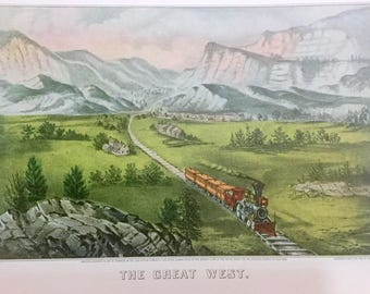 Vintage Art Litho Currier & Ives Train Leaving Town The Great West 1870 GOLD Rush