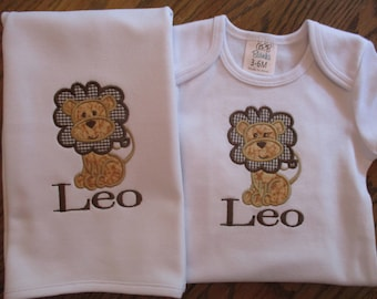 Lion Onesie, Appliqued Lion Bodysuit, Personalized Onesie with Appliqued Lion and matching burp cloth