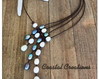 Black & White Pearl Wave Necklace #305