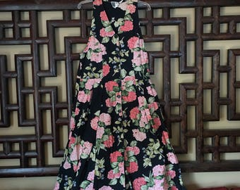 Floral Indian Cotton Button-Up Sleeveless Midi Dress