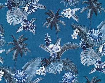 Island Paradise by Sevenberry for Robert Kaufman - Palm Trees and Flowers Blue | PRE-ORDER Fabric | Quilting, Sewing, Home Decor Supplies