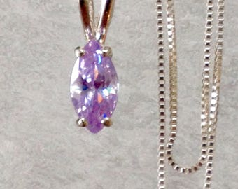 1 carat marquise necklace, light purple stone necklace, lavender ice cubic zirconia necklace, purple stone sterling silver necklace