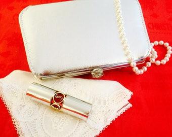Vintage Silver Lame  Evening Bag Silver Clutch Purse