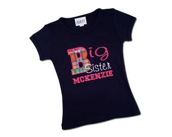 Gir's Plaid 'Big Sister' Shirt with Embroidered Name - M2