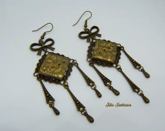 Earrings Vintage Bronze and gold (polymer clay)
