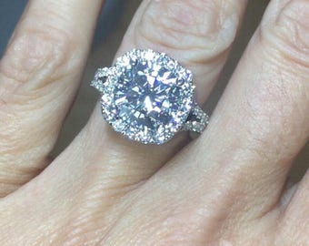 Moissanite Engagement Ring 5.02ct cushion cut Forever One Moissanite Ring 1.82ct Natural Diamonds Halo Ring White Gold Pristine Custom Rings