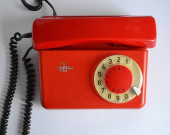 Vintage Rotary Telephone Red Retro Home Landline Working Phone Soviet Telephone Oldschool Home Office Decor Reception Retro Phone