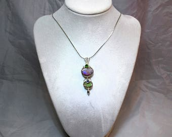 LOUISIANA OPAL (Extremely Rare) Pendant with Chrome Diopside & Tanzanite - Nice Fire!