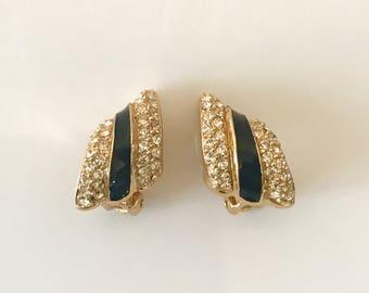 Vintage Christian Dior crystal rhinestones black enamel clip earrings designer jewelry