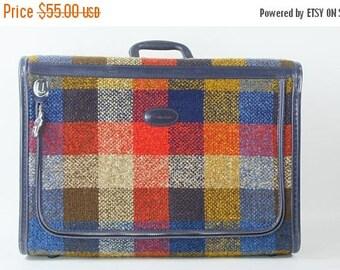 Vintage Travel Luggage Skyway Plaid Suitcase 1970s Retro Travel Medium Size