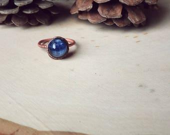 Blue Kyanite Copper Ring ~ Size 7.5 ~ healing stone ring ~ boho ~